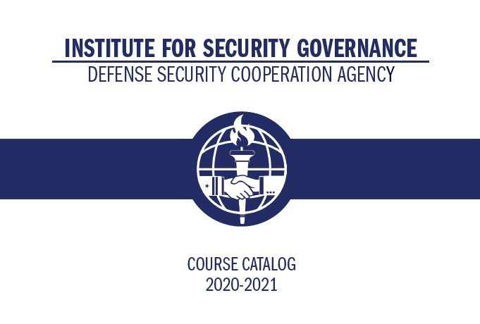 Cover of ISG course catalog with blue logo on a white background displaying the years