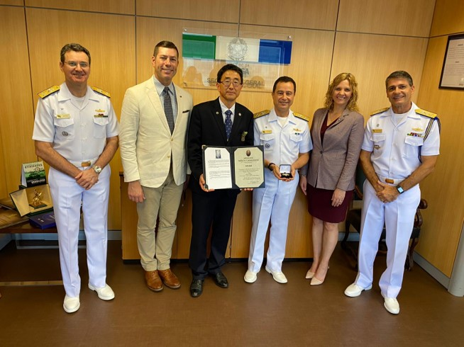 ISG's Jordan Chroman, Dr. Keebom Kang, and Brooke Adame with Brazilian Navy colleagues.