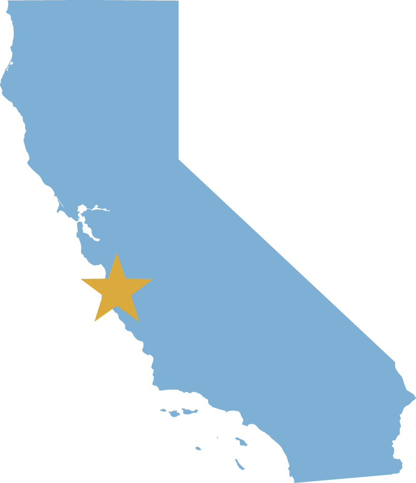 graphic California state icon with star