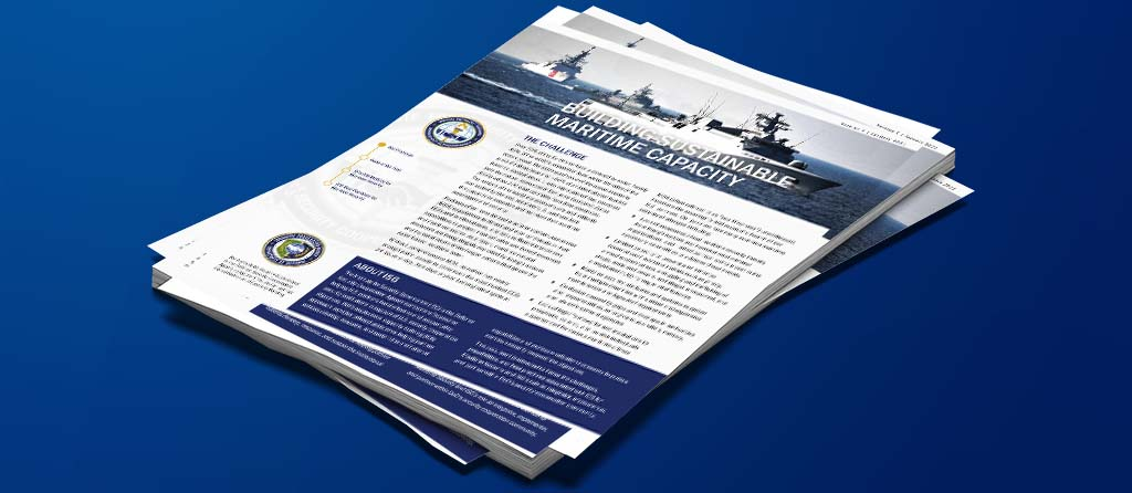 Cover of the Smart Sheet on Maritime Security featuring a photo of naval vessels and the first paragraph of the document