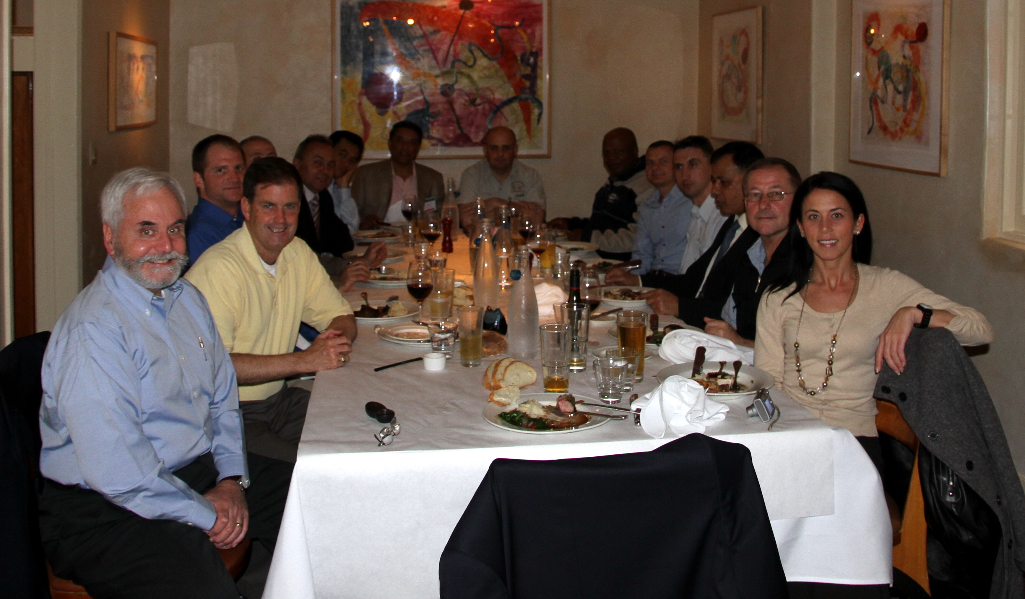 Participants and instructors meet for a meal, 2011