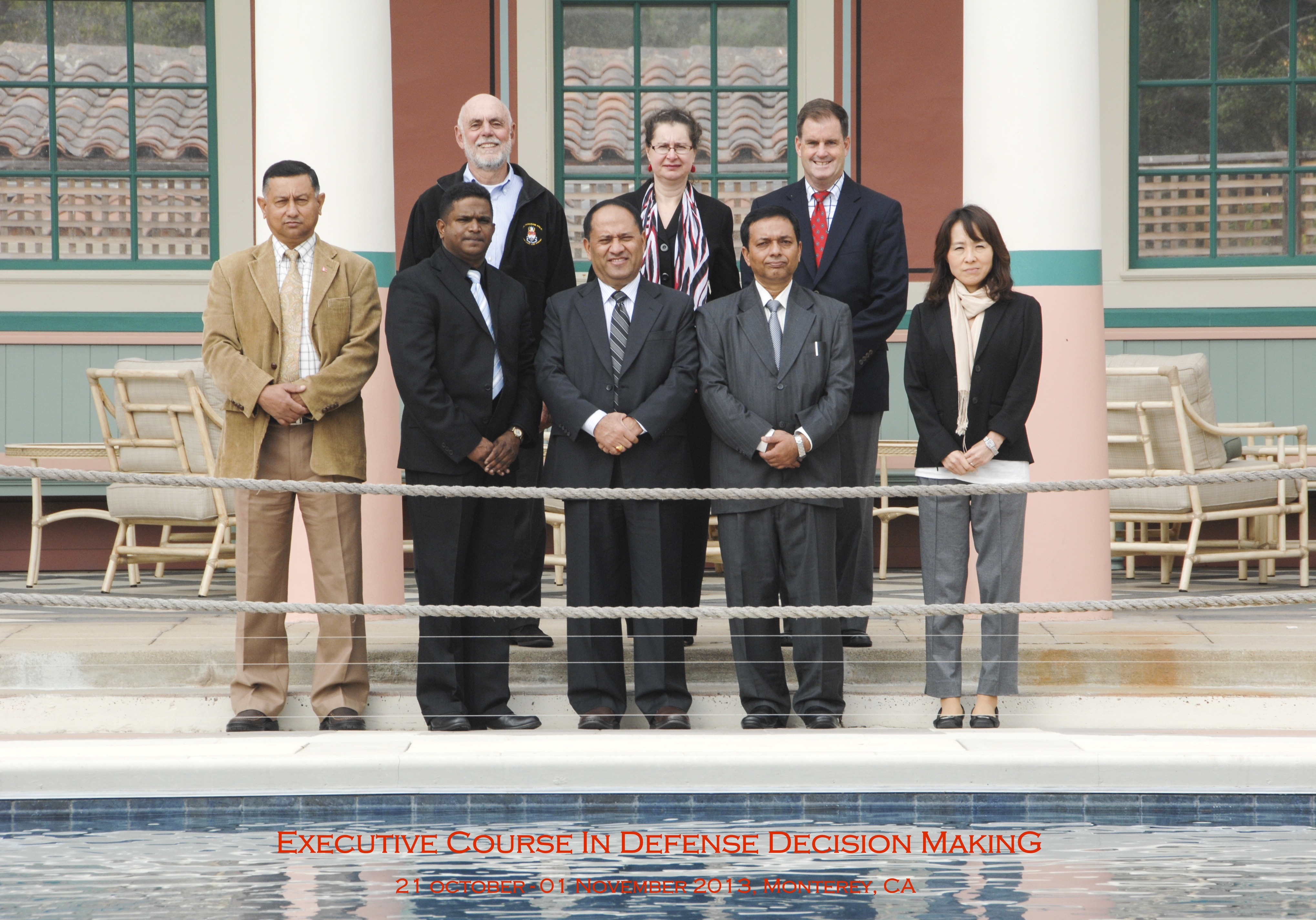 Class photo near the reflecting pool at the Naval Postgraduate School, 2013