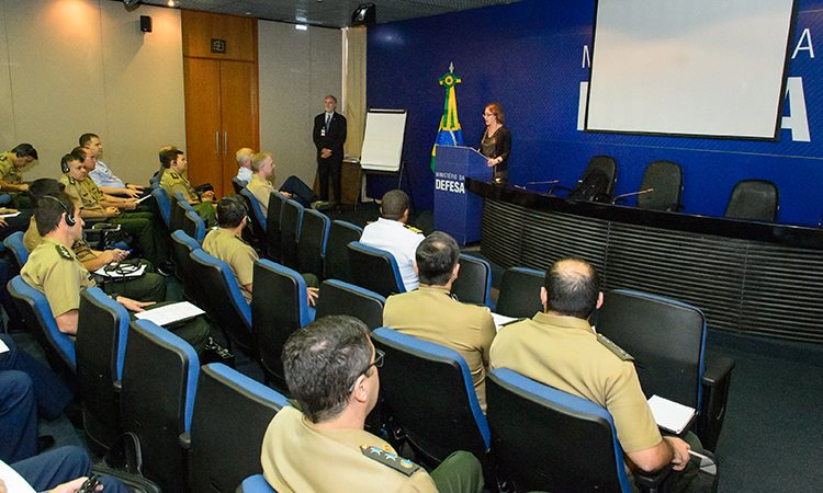 Kathleen Pegger speaking to Ministry of Defense in Brazil